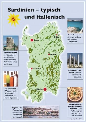 Karte von Sardinien